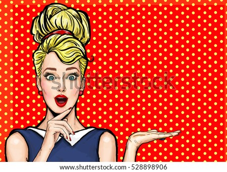 Surprised sexy woman is showing. Advertising design of amazed party girl presenting something in pop art style.