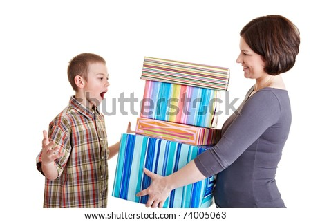 Surprised son receiving many gifts from his mother