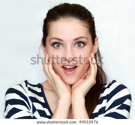 Surprised woman with hands at face looking isolated. Closeup portrait