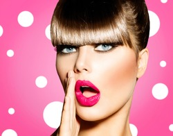 Surprised Woman with open Mouth. Pin up Girl. Make up. Beauty Woman over Pink Background. Open Mouth, Emotions