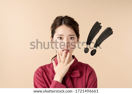 Surprised young asia woman. Facial expression.