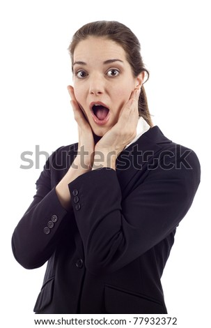 Surprised young business woman isolated over white background