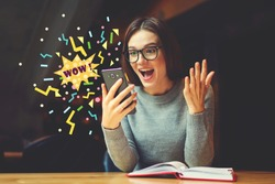 Surprised young female blogger reading shocked news in message on mobile phone. Hipster girl received good notification using network connection on smartphone. Emotional Wow word infographics elements