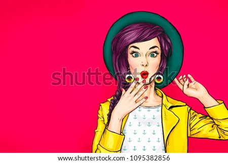 Surprised young sexy woman in hat. Advertising poster or party invitation with amazed girl with wow face in comic style.