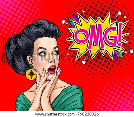 Surprised young sexy woman with open mouth.Comic woman. Amazed women. Pop Art girl. OMG. Advertising poster. Party invitation.pin up girl, wow, omg, yes, pop, no, club party, speech, joyful, cool, art