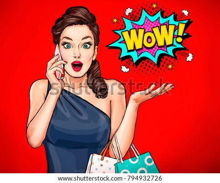 Surprised young sexy woman with open mouth.Pop Art surprised girl with bags.Comic woman. Wow.Advertising poster. Pop Art girl.Woman with smartphone. OMG