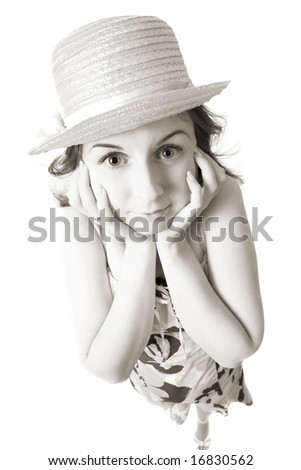 surprised young woman in straw hat isolated on white