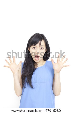 surprised young woman isolated on white background