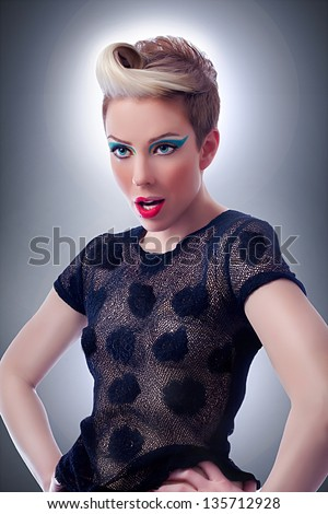 Surprised young woman with strange hairstyle, pin up/Surprised Woman