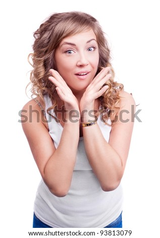 surprised young young woman, isolated against white background