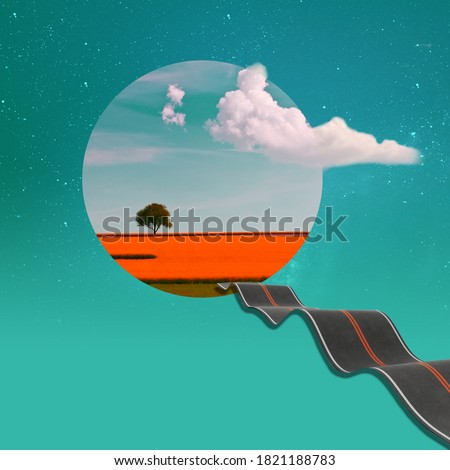 Surreal art collage. Abstract landscape on a turquoise color background.