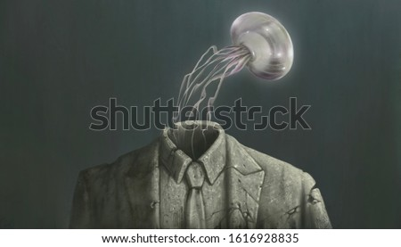 Surreal art, Jelly fish floating out of broken businessman sculpture, conceptual illustration