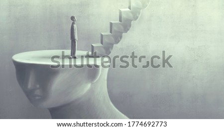 Surreal art of dream success and hope concept  , imagination artwork,  ambition idea painting illustration,  man with stairs