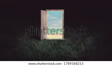 Surreal art of freedom dream mystery and hope concept idea ,magic door to sea imagination artwork, painting illustration, happiness of nature,fantasy conceptual Stock photo ©