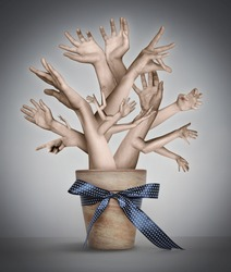Surreal artistic illustration with hand-tree. Concept graphic.