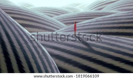 Surreal artwork of lonely woman, painting art, conceptual illustration, alone lonely hope solitude and loneliness concept, imagination of fantasy landscape , dreamlike Stock photo ©