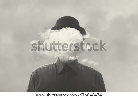 surreal black and white concept man with cloud over head #676846474