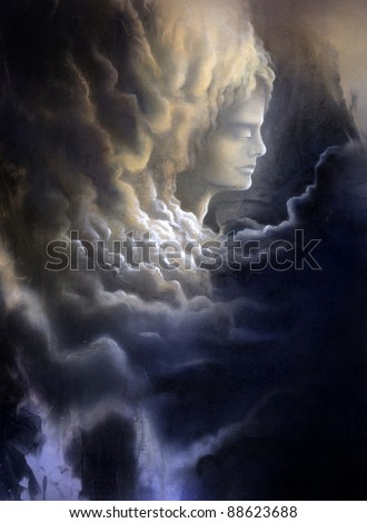 surreal canvas painting painted by me named Melancholic, it shows a thoughtful face surrounded of dramatic stormy clouds