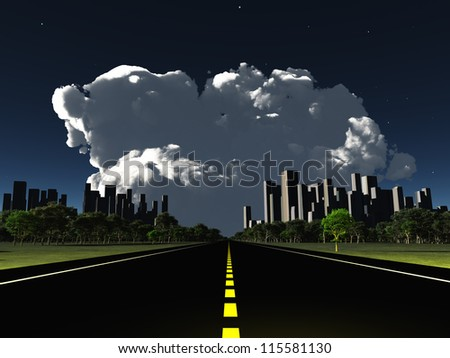 Surreal City night roadway with looming cloud
