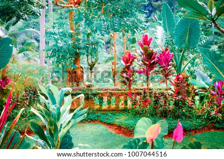 Surreal colors of fantasy tropical garden with amazing plants and flowers #1007044516