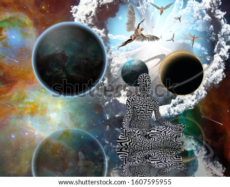 Surreal composition. Man with maze pattern in lotus pose. Angels comes from another dimensions. Universe Balance of Life. 3D rendering