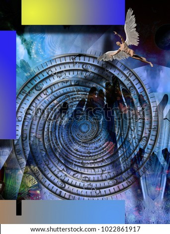 Surreal composition.Naked winged man represents angel. Time spiral. 3D rendering
