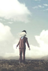 surreal concept man walking head in the clouds