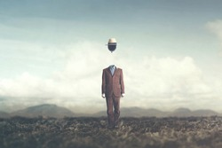 surreal concept man with balloon over his head