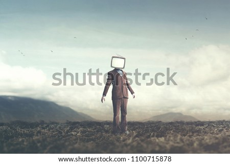 surreal concept man with television on his head