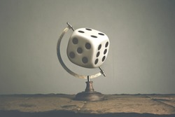 surreal concept; roll world dice for random travel destination
