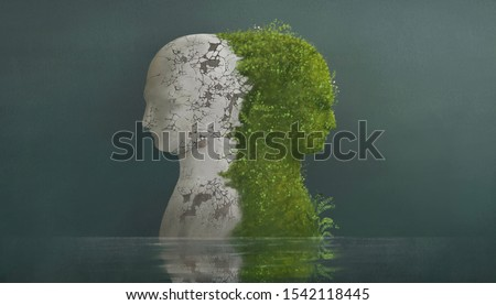 Surreal contrast concept, different emotional, broken human sculpture and nature human head in water, fantasy painting, sad, depression, bipolar, different, imagination