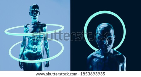 Surreal 3D illustration of Artificial Human, Cyber Godheads with neon halos. Stock photo ©