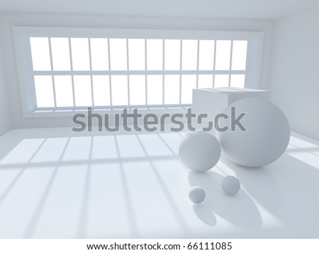 surreal 3d image of interior with geometric objects - stock photo