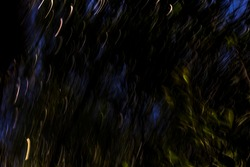Surreal dark forest with fiery white light streaks bursting into the air - abstract motion blurred background / texture