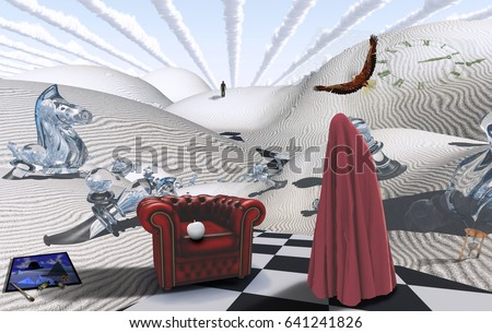 Surreal desert with chess figures. Figure in red hijab. Armchair with white apple. Painting with brush and dyes. Eagle in the sky.   3D rendering