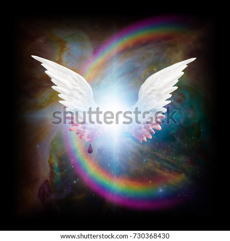 Stock Photo Surreal digital art. Bright star with angel's wings. Blood drips down from wings. Rainbow in colorful vivid universe.  3D rendering Some elements provided courtesy of NASA.