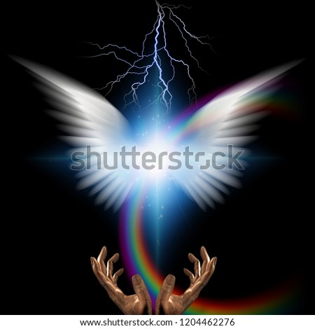 Stock Photo Surreal digital art. Bright star with white angel's wings and rainbow. Hands of creator. 3D rendering