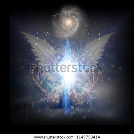 Stock Photo Surreal digital art. Bright star with white angel's wings. Hands of creator. Energy in shape of cross. Spiral galaxy in endless universe. 3D rendering