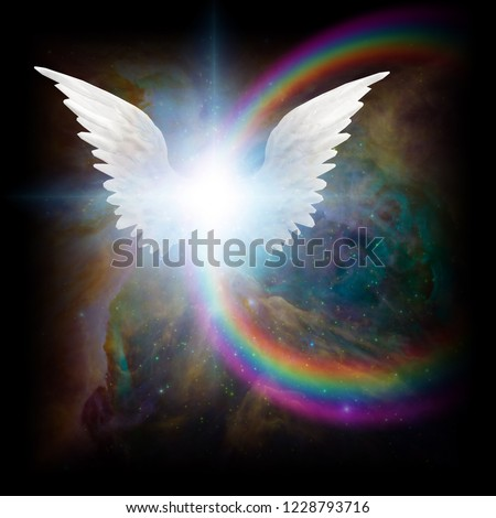 Stock Photo Surreal digital art. Bright star with white angel's wings in vivid colorful universe. 3D rendering