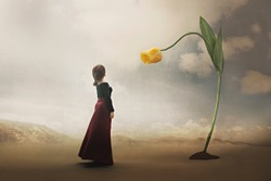 surreal encounter between a woman and a giant tulip