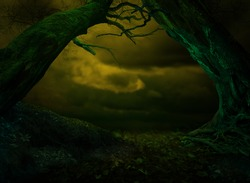 Surreal fantasy landscape with scary crooked tilted trees on dark dramatic sky background