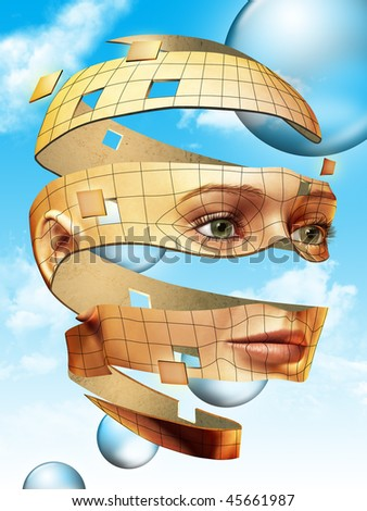 Surreal female head floating over a bright blue sky. Digital illustration