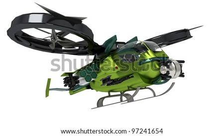 surreal helicopter going to attack