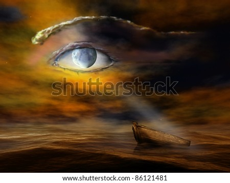 Surreal illustration of the moon looking down on an old fishing boat
