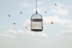 surreal image of a butterfly trapped in a cage and other free flying butterflies