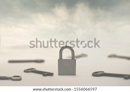 surreal image of infinite keys as a solution to a single padlock or problem, concept of choice, success, solutions, password