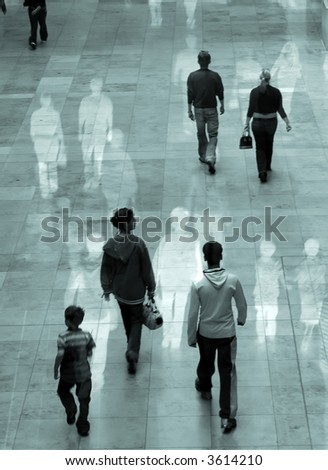 Surreal image of people in shopping mall. Some movement blur with overlaid images. - stock photo