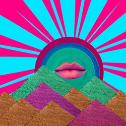 Surreal landscape collage. Pyramids and lip.
