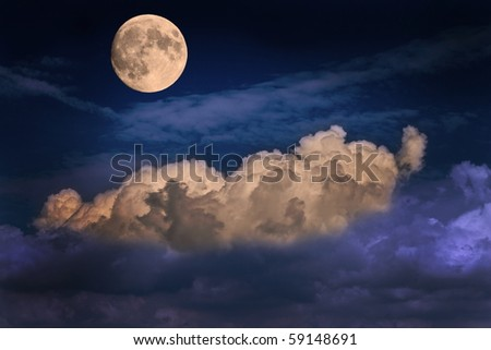 surreal landscape with clouds of glowing moon
