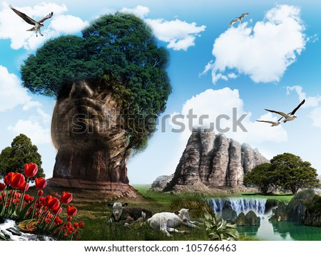 surreal landscape with mountain shaped like a head
